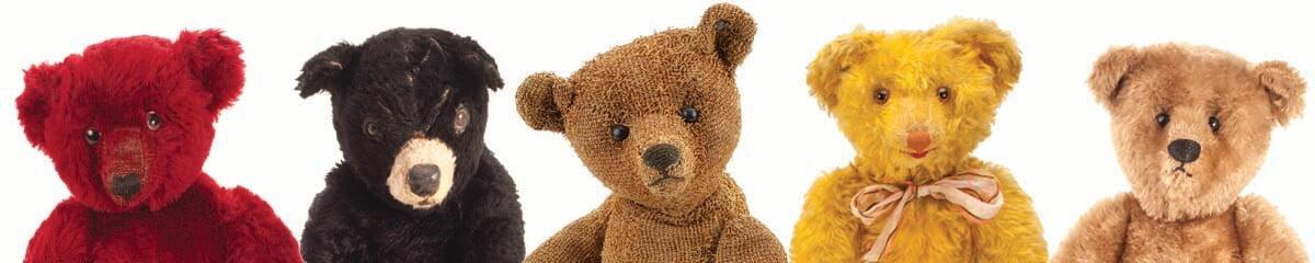 The bears featured in the banner are: Farnell Teddy Bear, Dean's Rag Book American Bear,, Steiff paper-plush Teddy Bear,, Crämer musical teddy bear and a Steiff Teddy Bear