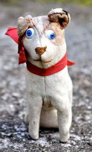 Front view of Very rare FADAP (French) felt dog with googlie eyes and original button in ear