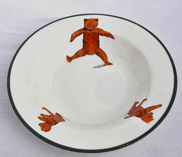 rare early porcelain teddy bear nursery bowl, circa 1910